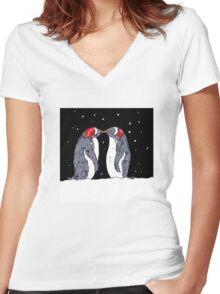 Kissing Penguins Women's Fitted V-Neck T-Shirt