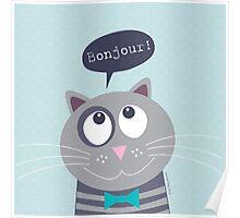 Bonjour Mr Cat Poster