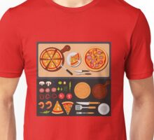 Pizza on the Plate and Ingredients for Pizza Unisex T-Shirt