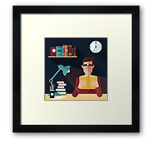 Concept of Reading Books. Man Reading Book at Home. Vector illustration in flat style Framed Print
