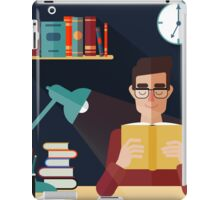 Concept of Reading Books. Man Reading Book at Home. Vector illustration in flat style iPad Case/Skin