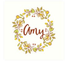 Amy lovely name and floral bouquet wreath Art Print