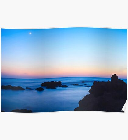 Rocky Mediterranean shore at sunset Poster
