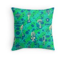 Frenzy Delirium Hip Hop Psychedelic Mushrooms by Pepe Psyche Throw Pillow