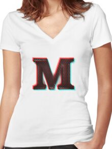 Stereoscopic 3D M Initial Letter Women's Fitted V-Neck T-Shirt