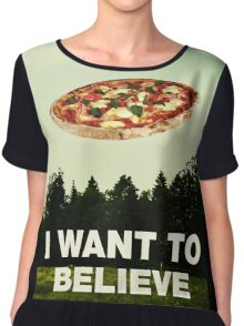i want to believe in pizza Chiffon Top