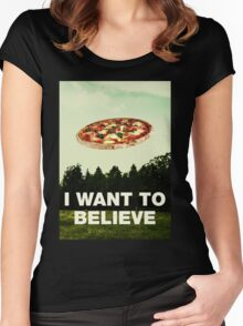 i want to believe in pizza Women's Fitted Scoop T-Shirt