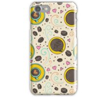 Coffee been seamless white watercolor iPhone Case/Skin