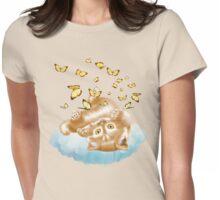 Kitten and Butterflies Womens Fitted T-Shirt