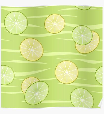 Colorful illustration . The Lemon & Lime.  Poster
