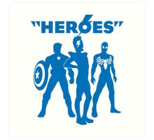 heroes: bowie and his super friends Art Print