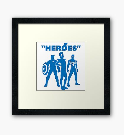 heroes: bowie and his super friends Framed Print