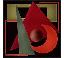 Beautiful modern geometrical ornamental red green black pattern texture Photographic Print