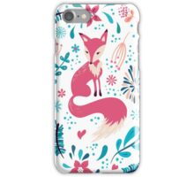 Fox with winter flowers and snowflakes iPhone Case/Skin