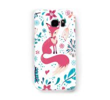 Fox with winter flowers and snowflakes Samsung Galaxy Case/Skin