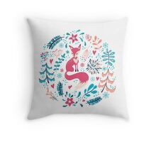Fox with winter flowers and snowflakes Throw Pillow