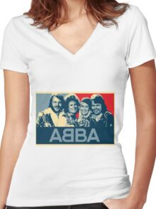 ABBA.  Women's Fitted V-Neck T-Shirt