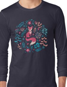 Fox with winter flowers and snowflakes Long Sleeve T-Shirt