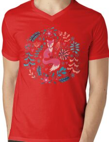 Fox with winter flowers and snowflakes Mens V-Neck T-Shirt