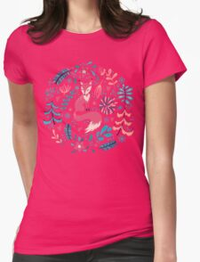 Fox with winter flowers and snowflakes Womens Fitted T-Shirt