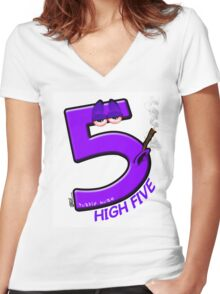 High 5 Purp Women's Fitted V-Neck T-Shirt