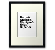Helvetica List - Great Lakes Framed Print