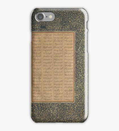 Page of Calligraphy from a Mantiq al-tair (Language of the Birds),  iPhone Case/Skin