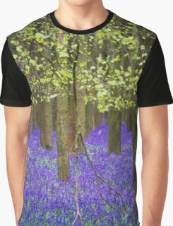 Dreamy Blue Forest Floor Graphic T-Shirt