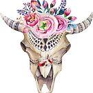 Boho Tribal Bull Skull And Pink Watercolors Roses by artonwear