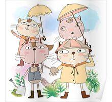 Cats in Rain Sun Shower Poster