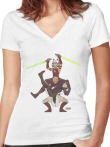 Obi Juan needs some ho Women's Fitted V-Neck T-Shirt