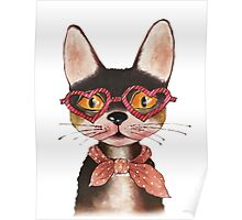 Cool Cat in Glasses and Scarf Poster