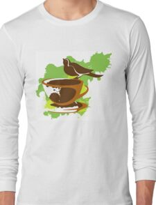 Bird on a cup of coffee Long Sleeve T-Shirt