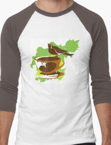 Bird on a cup of coffee Men's Baseball ¾ T-Shirt