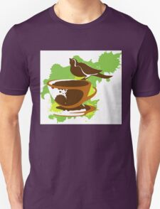 Bird on a cup of coffee Unisex T-Shirt