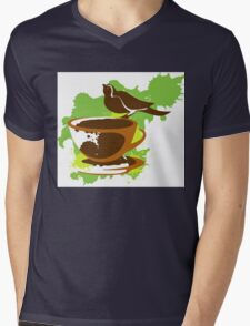 Bird on a cup of coffee Mens V-Neck T-Shirt
