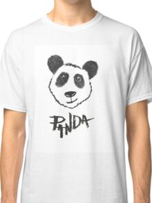 Cute Black and White Hand Drawn Panda Typography Classic T-Shirt