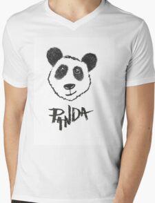 Cute Black and White Hand Drawn Panda Typography Mens V-Neck T-Shirt