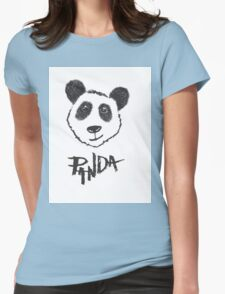 Cute Black and White Hand Drawn Panda Typography Womens Fitted T-Shirt