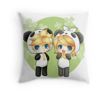 Cute Kagamine Rin and Len Panda Chibi Throw Pillow