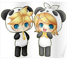 Cute Kagamine Rin and Len Panda Chibi Poster