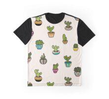 Cute Little Cactus Pattern Graphic T-Shirt