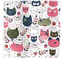 Cute Kitty Cat Pattern Poster