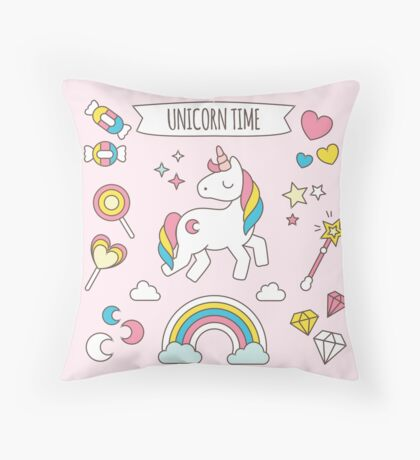 Cute Unicorn Candy Pattern Throw Pillow