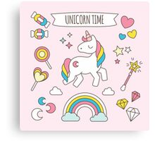 Cute Unicorn Candy Pattern Canvas Print