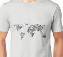 World map in a doodle universe Unisex T-Shirt