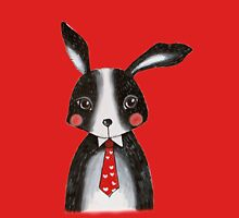 Black and White Rabbit Wearing a Neck Tie T-Shirt
