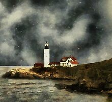 October Night, Portland Head by RC deWinter