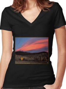 Maple Ablaze at Sunset Women's Fitted V-Neck T-Shirt