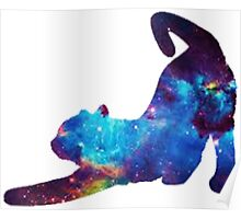 Galaxy Stretching Cat Poster